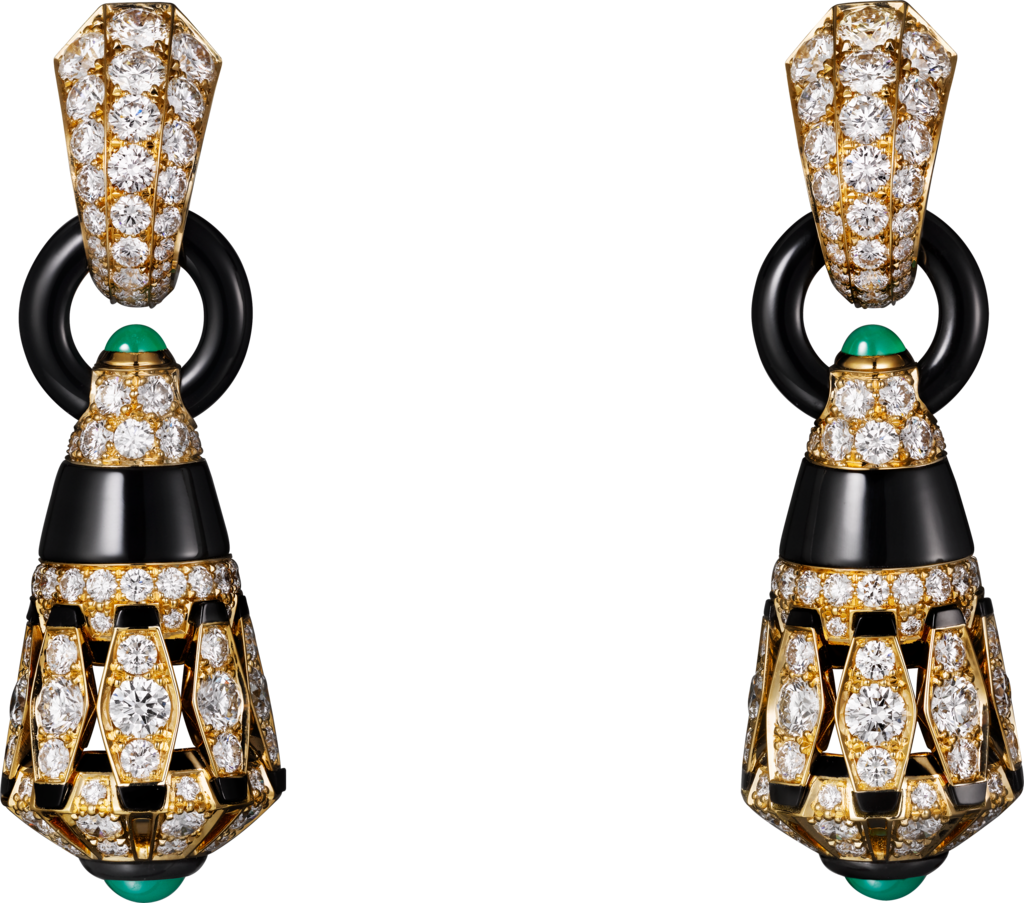 High Jewellery earringsYellow gold, chrysoprases, onyx, black lacquer, diamonds