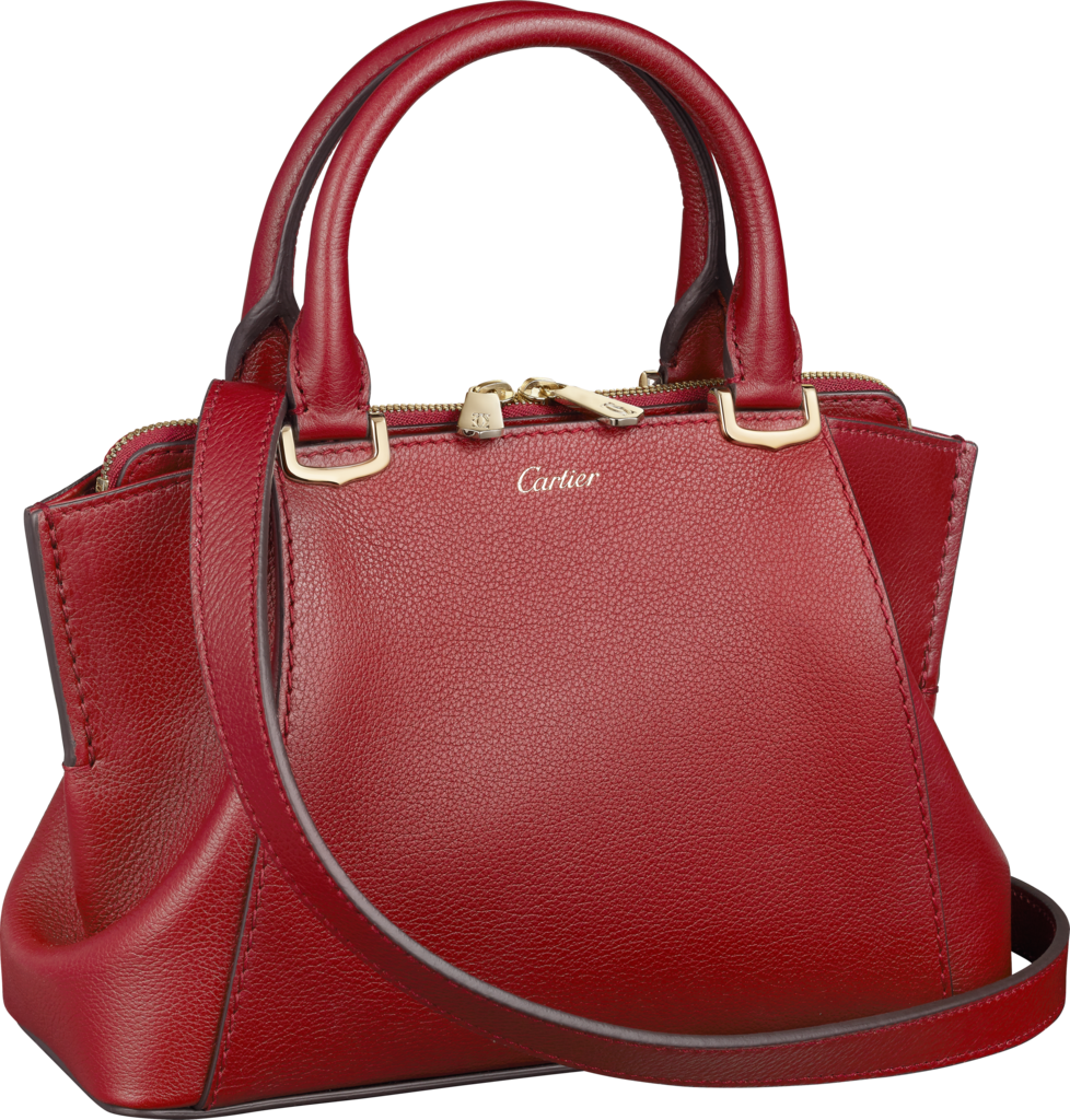 C de Cartier bag, mini modelRed spinel-coloured taurillon leather, golden finish