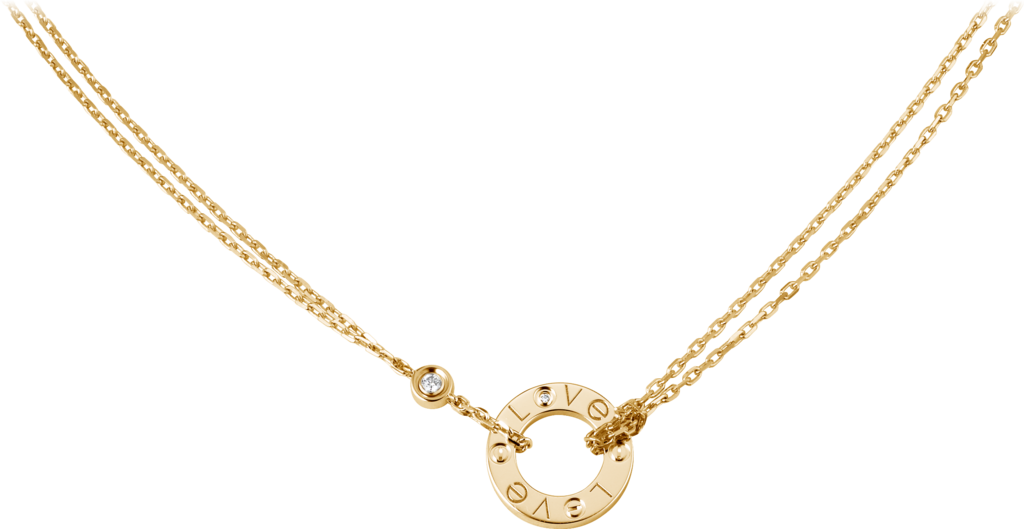 Love necklace, 2 diamondsYellow gold, diamonds