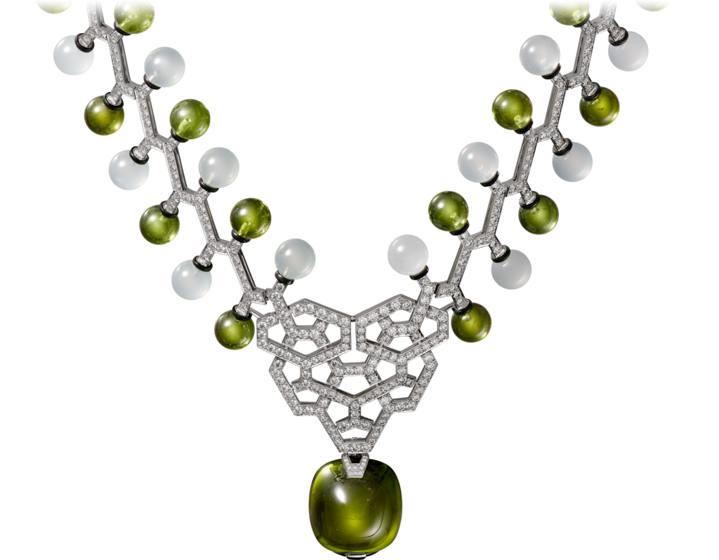 High Jewellery necklaceWhite gold, peridot, quartz, lacquer, diamonds