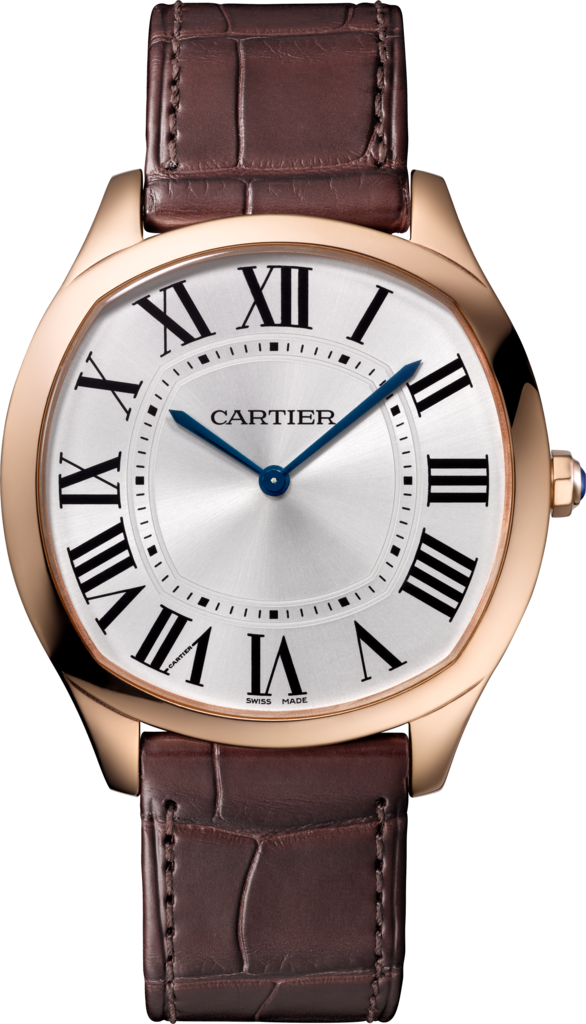 Drive de Cartier Extra-Flat watchRose gold, leather