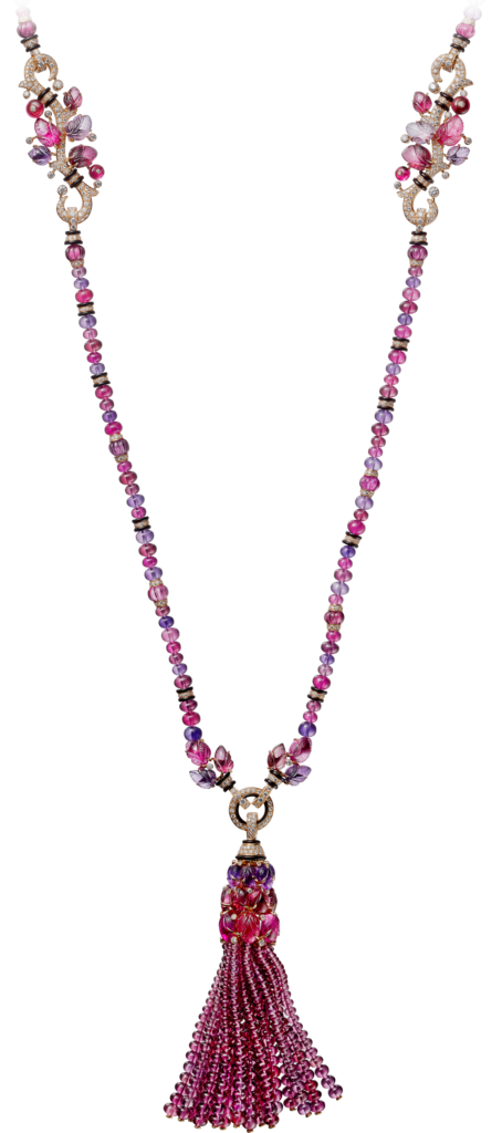 Necklace with engraved stonesRose gold, garnets, amethysts, rubellites, onyx, diamonds
