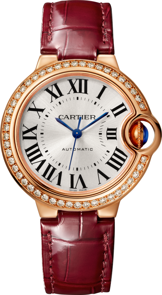 Ballon Bleu de Cartier watch33 mm, pink gold, diamonds, leather
