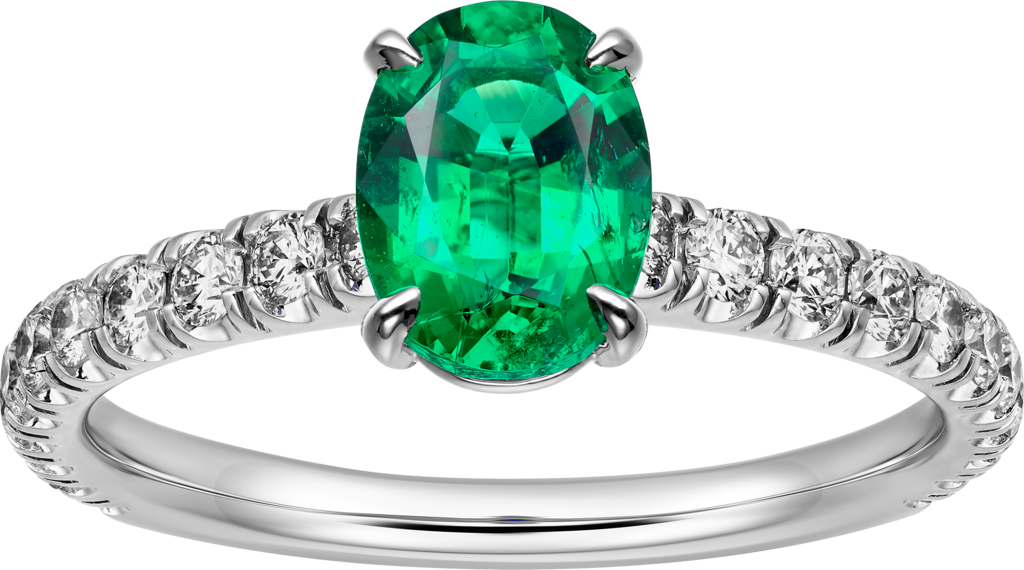 1895 solitaire ringPlatinum, emerald, diamonds