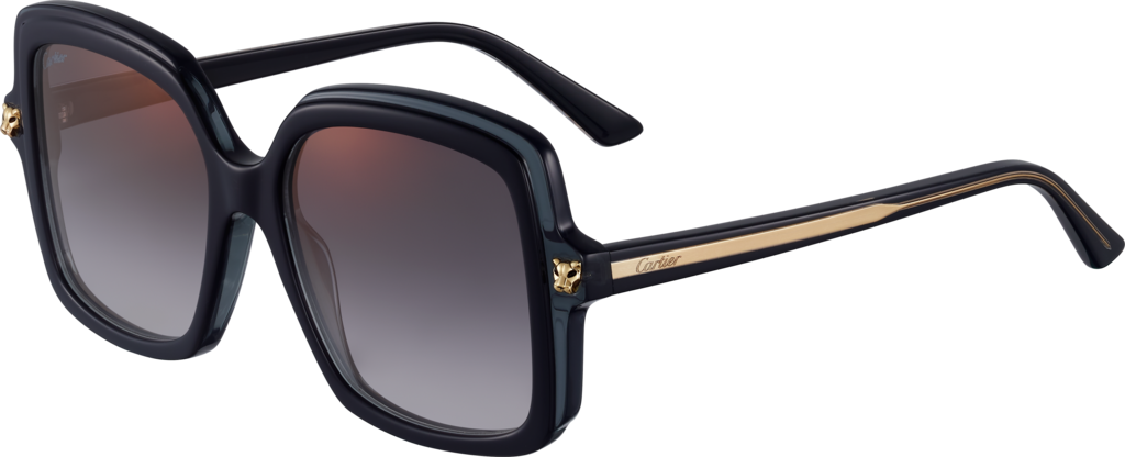 Panthère de Cartier sunglassesBlack composite, graduated grey lenses with golden flash
