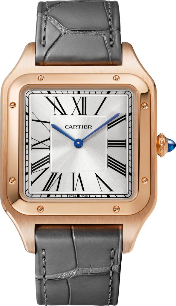 Santos-Dumont watchExtra-large model, hand-wound mechanical movement, rose gold, leather