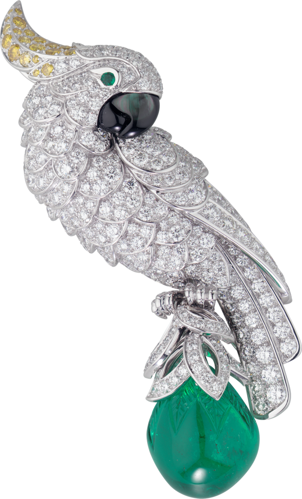 Cartier High Jewellery Fauna and Flora broochPlatinum, emerald, mother-of-pearl, diamonds