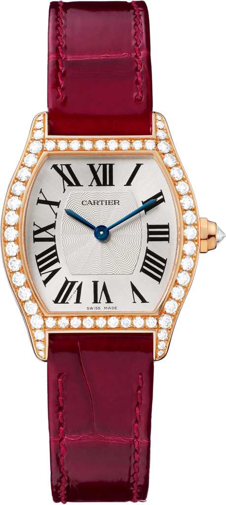 Tortue watchSmall model, rose gold, leather, diamonds