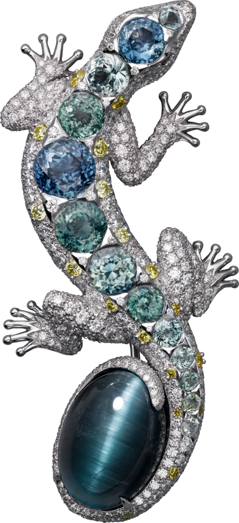 High Jewellery broochWhite gold, tourmaline, coloured sapphires, diamonds